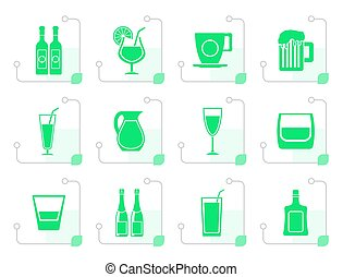 Stylized different kind of drink icons