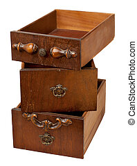 storage concept - old drawers - storage concept - a stack of...