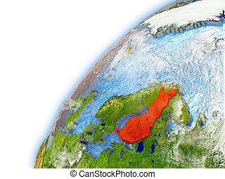 Finland on model of planet Earth - Finland highlighted on...