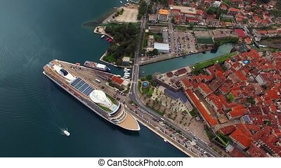 Huge cruise ship in the Bay of Kotor in Montenegro. Near the...