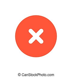 Close icon. Red delete symbol. Vector sign