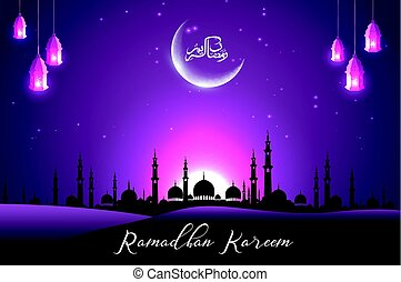 Beautiful mosque with crescent on purple sky background -...