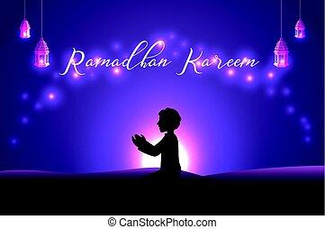 Muslim man praying silhouette at the desert night day -...