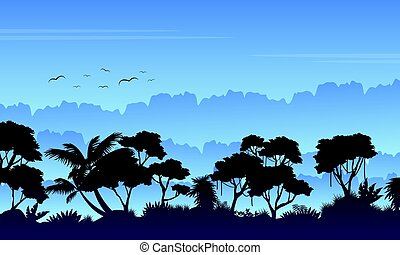 Silhouette of rain forest beauty landscape vector art
