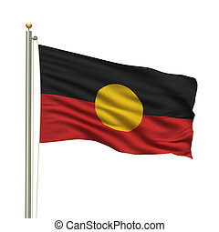 Aboriginal Flag - Aboriginal flag with flag pole waving in...