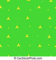 Tiny yellow daisies - Seamless green pattern with tiny...