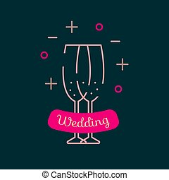 Wedding champagne glasses - Icon silhouette of two wedding...