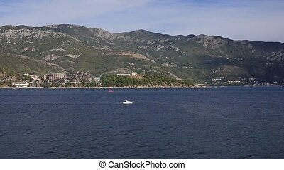 The boat in the sea near Budva. Montenegro, Budva Riviera,...