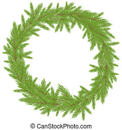 Christmas Wreath. Vector illustration - Christmas green...