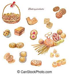 Conjunto, dulce, otro, acuarela, panadería, productos, Pasteles, galleta,  bread
