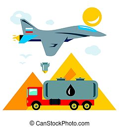 Vector Russian aviation in Syria Abstract Concept. Bombing of trucks with oil. Flat style colorful Cartoon illustration.