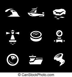 vector, Conjunto, navegación, mar, iconos