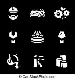 Vector Set of Scrap processing Icons. - Worker, auto,...