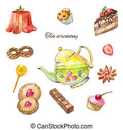 dibujos, Pasteles, té, acuarela, brillante,  chockolate, panadería, cocinero, tetera, ceremonia, galleta, diseño