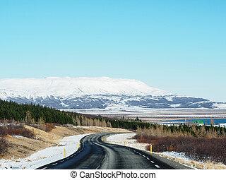 montanha, Inverno, asfalto, árvores, neve, curvado, coberto, lado, estrada