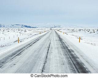 montanha, Inverno, neve, coberto, lado, estrada