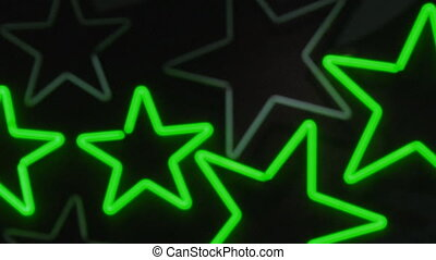 Green and turquoise neon stars.