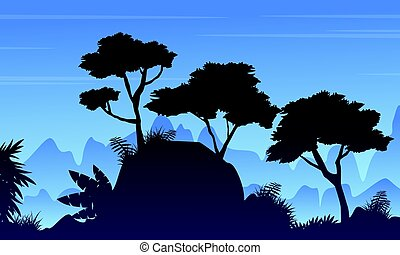 Silhouette tree on the rain forest landscape vector art