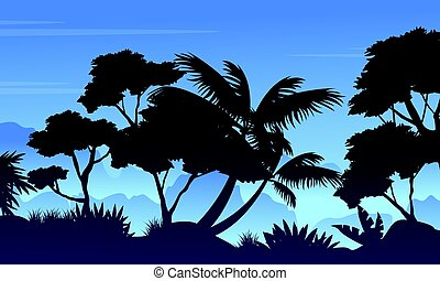 Silhouette of rain forest landscape vector illustration