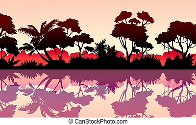 Beauty scenery rain forest collection stock vector...
