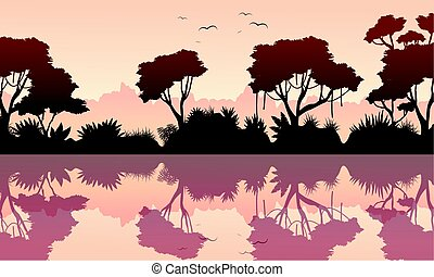 Beauty scenery rain forest silhouette vector illustration