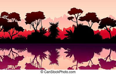 Vector illustration scenery of rain forest collection stock