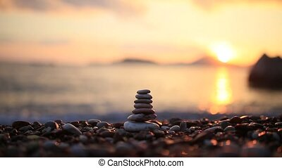Balance stones on the beach. Peace of mind. Equilibrium...