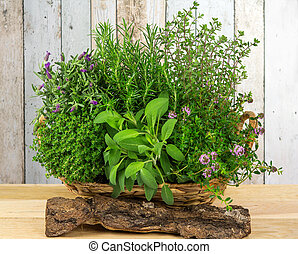 A basket full of herbs for the kitchen. - A basket full of...