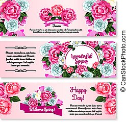 Spring flower bouquet for greeting banner template