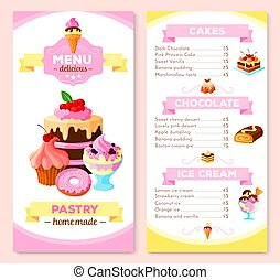 Vector menu template for homemade pastry cakes - Pastry and...