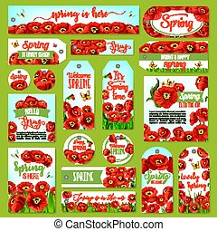 Springtime holiday greeting tag and gift label set