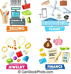 Selling, jewelry, finance and flight vector items - Vector...