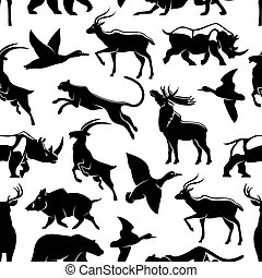 Vector seamless pattern of wild animals and birds
