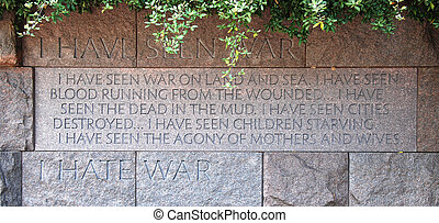 Franklin Delano Roosevelt Memorial - Quotation in the...