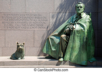 Franklin Delano Roosevelt Memorial - Outdoor view of...