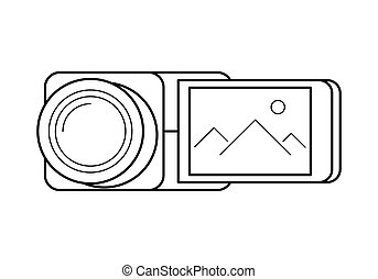 Video camera line art, simple gadget icon for web...