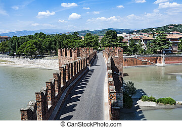 old bridge in Verona over Adige river - Castelvecchio