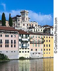 river brenta with romantic village Basano del Grappa - river...