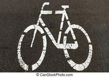 Bicycle sign on the biking street lane