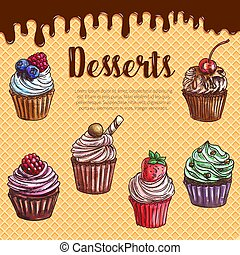 Vector waffle poster with dessert cupcakes - Cupcake...