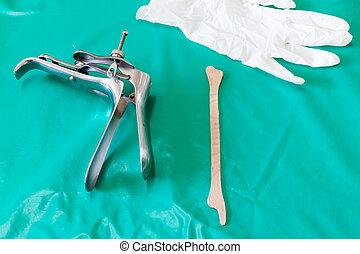 Equipment vaginal speculum and spatula - Colposcop, spatula...
