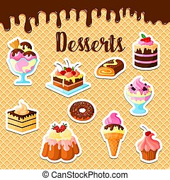 Vector pastry dessert cakes on waffle poster - Pastry cakes...