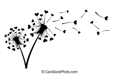 Dandelion with hearts.