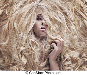 Conceptual photo of a women with lush wig