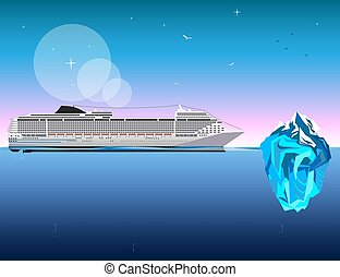 Ship with iceberg on blue background. vector illustration