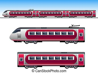 Passenger red train. Train isolated vector illustration