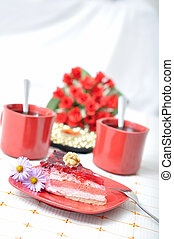 Fruit dessert with tea and napkin