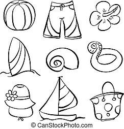Vector art element summer doodles