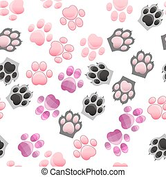 cat and dog paw print with claws - original trendy vector...