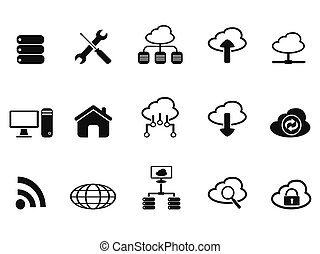 black cloud network icons set - isolated black cloud network...